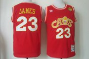 Wholesale Cheap Men's Cleveland Cavaliers #23 LeBron James 2015 The Finals CavFanatic Red Hardwood Classics Soul Swingman Throwback Jersey