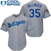Wholesale Cheap Dodgers #35 Cody Bellinger Grey Cool Base 2018 World Series Stitched Youth MLB Jersey
