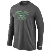 Wholesale Cheap Nike New York Jets Heart & Soul Long Sleeve T-Shirt Dark Grey