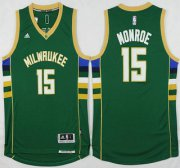 Wholesale Cheap Men's Milwaukee Bucks #15 Greg Monroe Revolution 30 Swingman 2015-16 Green Jersey