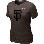 Wholesale Cheap Women's San Francisco Giants Heathered Nike Brown Blended T-Shirt