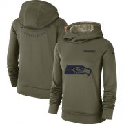 Wholesale Cheap Women's Seattle Seahawks Nike Olive Salute to Service Sideline Therma Performance Pullover Hoodie