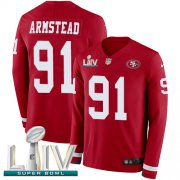 Wholesale Cheap Nike 49ers #91 Arik Armstead Red Super Bowl LIV 2020 Team Color Men's Stitched NFL Limited Therma Long Sleeve Jersey