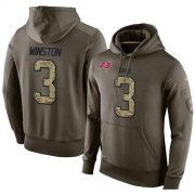 Wholesale Cheap NFL Men's Nike Tampa Bay Buccaneers #3 Jameis Winston Stitched Green Olive Salute To Service KO Performance Hoodie