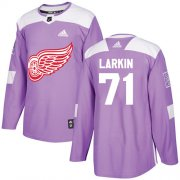 Wholesale Cheap Adidas Red Wings #71 Dylan Larkin Purple Authentic Fights Cancer Stitched Youth NHL Jersey