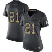 Wholesale Cheap Nike Lions #21 Tracy Walker Black Women's Stitched NFL Limited 2016 Salute to Service Jersey