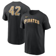 Wholesale Cheap Pittsburgh Pirates Nike Jackie Robinson Day Team 42 T-Shirt Black