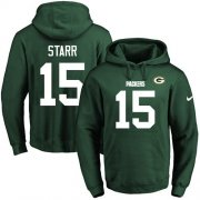 Wholesale Cheap Nike Packers #15 Bart Starr Green Name & Number Pullover NFL Hoodie