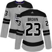 Wholesale Cheap Adidas Kings #23 Dustin Brown Gray Alternate Authentic Women's Stitched NHL Jersey