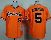 Wholesale Cheap Mitchell and Ness 1975 Orioles #5 Brooks Robinson Orange Throwback Stitched MLB Jersey