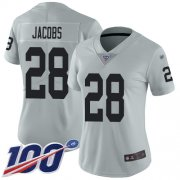 Wholesale Cheap Nike Raiders #28 Josh Jacobs Silver Women's Stitched NFL Limited Inverted Legend 100th Season Jersey