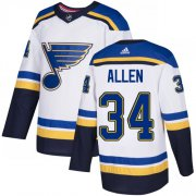 Wholesale Cheap Adidas Blues #34 Jake Allen White Road Authentic Stitched Youth NHL Jersey