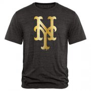 Wholesale Cheap New York Mets Fanatics Apparel Gold Collection Tri-Blend T-Shirt Black