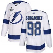 Cheap Adidas Lightning #98 Mikhail Sergachev White Road Authentic Youth 2020 Stanley Cup Champions Stitched NHL Jersey