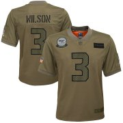 Wholesale Cheap Youth Seattle Seahawks #3 Russell Wilson Nike Camo 2019 Salute to Service Game Jersey