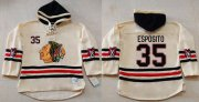 Wholesale Cheap Blackhawks #35 Tony Esposito Cream Heavyweight Pullover Hoodie Stitched NHL Jersey