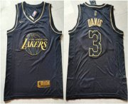 Wholesale Cheap Men's Los Angeles Lakers #3 Anthony Davis Black Golden Edition Nike Swingman Jersey
