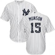 Wholesale Cheap Yankees #15 Thurman Munson White Strip Team Logo Fashion Stitched MLB Jersey