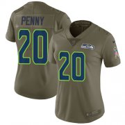 Wholesale Cheap Nike Seahawks #20 Rashaad Penny Olive Women's Stitched NFL Limited 2017 Salute to Service Jersey