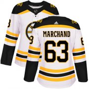Wholesale Cheap Adidas Bruins #63 Brad Marchand White Road Authentic Women's Stitched NHL Jersey
