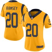 Wholesale Cheap Nike Rams #20 Jalen Ramsey Gold Women's Stitched NFL Limited Rush Jersey