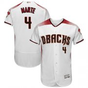 Wholesale Cheap Diamondbacks #4 Ketel Marte White/Crimson Flexbase Authentic Collection Stitched MLB Jersey