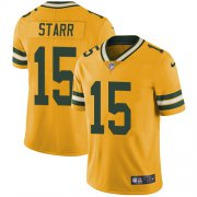 Wholesale Cheap Nike Packers #15 Bart Starr Yellow Youth Stitched NFL Limited Rush Jersey