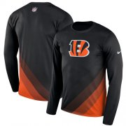 Wholesale Cheap Men's Cincinnati Bengals Nike Black Sideline Legend Prism Performance Long Sleeve T-Shirt