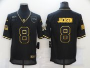 Wholesale Cheap Men's Baltimore Ravens #8 Lamar Jackson Black Gold 2020 Salute To Service Stitched NFL Nike Limited Jersey
