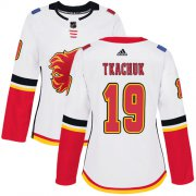 Wholesale Cheap Adidas Flames #19 Matthew Tkachuk White Road Authentic Women's Stitched NHL Jersey