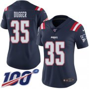 Wholesale Cheap Nike Patriots #35 Kyle Dugger Navy Blue Women's Stitched NFL Limited Rush 100th Season Jersey