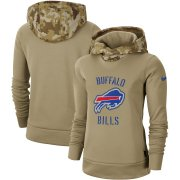 Wholesale Cheap Women's Buffalo Bills Nike Khaki 2019 Salute to Service Therma Pullover Hoodie