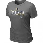 Wholesale Cheap Women's Baltimore Ravens 2012 Super Bowl XLVII On Our Way T-Shirt Dark Grey