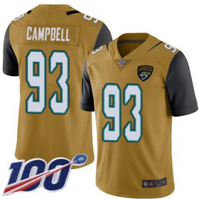 Wholesale Cheap Nike Jaguars #93 Calais Campbell Gold Men\'s Stitched NFL Limited Rush 100th Season Jersey
