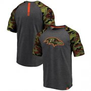 Wholesale Cheap Baltimore Ravens Pro Line by Fanatics Branded College Heathered Gray/Camo T-Shirt