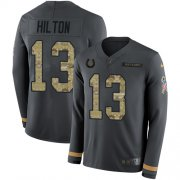Wholesale Cheap Nike Colts #13 T.Y. Hilton Anthracite Salute to Service Men's Stitched NFL Limited Therma Long Sleeve Jersey