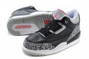 Wholesale Cheap Air Jordan 3 Kids(2017 Release) Shoes Black/gray cement-red