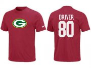Wholesale Cheap Nike Green Bay Packers #80 Donald Driver Name & Number NFL T-Shirt Red