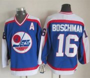 Wholesale Jets #16 Laurie Boschman Blue/White CCM Throwback Stitched NHL Jersey