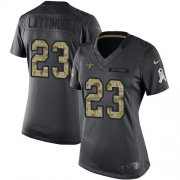 Wholesale Cheap Nike Saints #23 Marshon Lattimore Black Women's Stitched NFL Limited 2016 Salute to Service Jersey