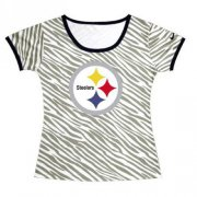 Wholesale Cheap Women's Pittsburgh Steelers Sideline Legend Authentic Logo Zebra Stripes T-Shirt