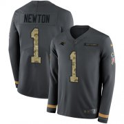 Wholesale Cheap Nike Panthers #1 Cam Newton Anthracite Salute to Service Men's Stitched NFL Limited Therma Long Sleeve Jersey