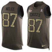 Wholesale Cheap Nike Chiefs #87 Travis Kelce Green Men's Stitched NFL Limited Salute To Service Tank Top Jersey