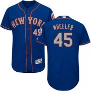 Wholesale Cheap Mets #45 Zack Wheeler Blue(Grey NO.) Flexbase Authentic Collection Stitched MLB Jersey