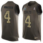 Wholesale Cheap Nike Colts #4 Adam Vinatieri Green Men's Stitched NFL Limited Salute To Service Tank Top Jersey