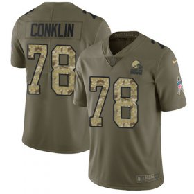 Wholesale Cheap Nike Browns #78 Jack Conklin Olive/Camo Youth Stitched NFL Limited 2017 Salute To Service Jersey