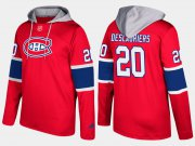 Wholesale Cheap Canadiens #20 Nicolas Deslauriers Red Name And Number Hoodie