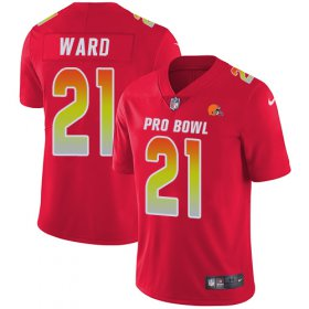 Wholesale Cheap Nike Browns #21 Denzel Ward Red Men\'s Stitched NFL Limited AFC 2019 Pro Bowl Jersey