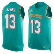Wholesale Cheap Nike Dolphins #13 Dan Marino Aqua Green Team Color Men's Stitched NFL Limited Tank Top Jersey