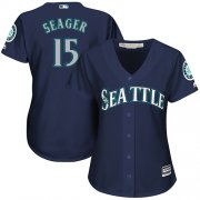 Wholesale Cheap Mariners #15 Kyle Seager Navy Blue Alternate Women's Stitched MLB Jersey